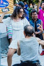 Kenny the Dancing Man and Attendees, Concerts in the Park, Cesar Chavez Park, Sacramento, CA. June 8, 2018. Photo Mickey Morrow