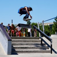 Budman James Double Kickflip Varial over stairs at the Mather AM Sacramento CA. June 2018. Photo Joey Miller
