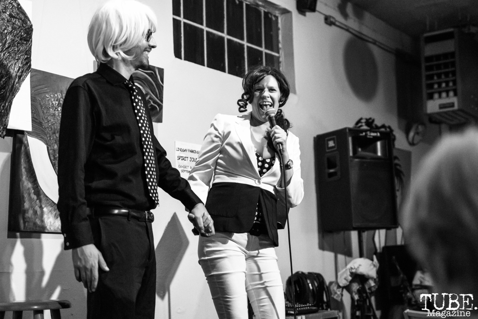 Comedians Drew Kimzey and Aliada-Hist, Invisible Disabilities open mic. Luna's Cafe, Sacramento, CA. September 12th, 2018. Photo by Mickey Morrow.