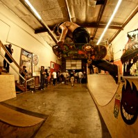 Keegan with a backside over the gap, Art Show, Boulevard Skate Shop, September 22, 2018, Sacramento CA. Photo by Joey Miller
