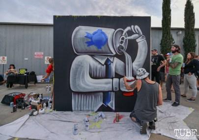 Shaun Burner live painting, Work in Progress, Tin Can Studios, Sacramento, CA, September 30, 2018. Photo by Daniel Tyree