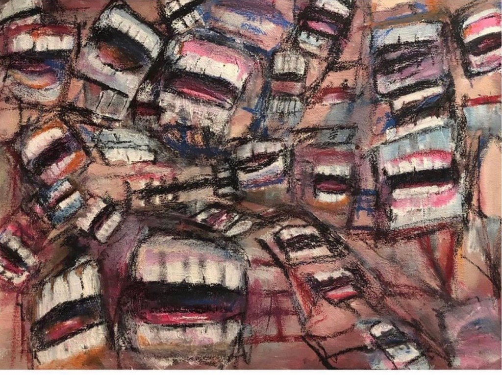 Drawn image of many mouths, baring teeth all over the place.