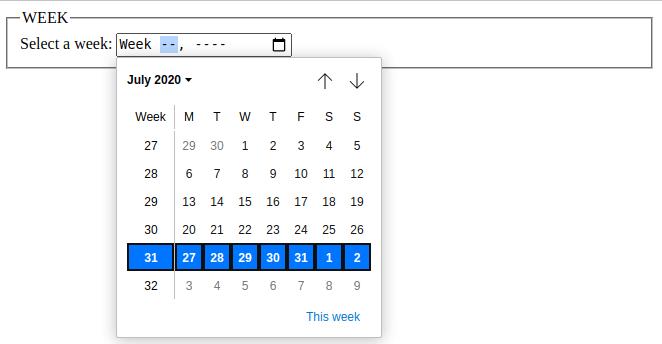html 5 input week data type