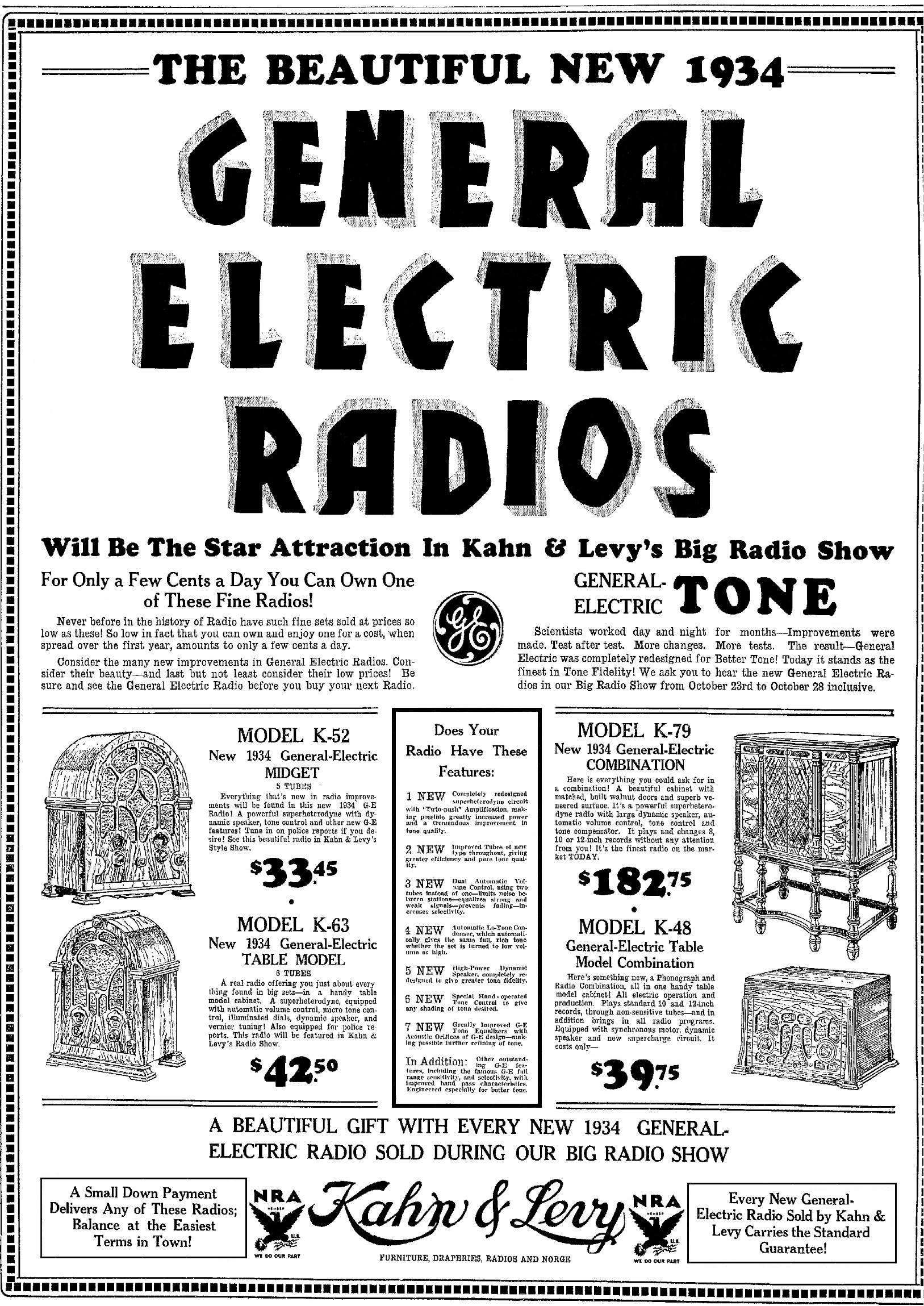 General Electric (GE) Model K-52 Cathedral Radio (1932)