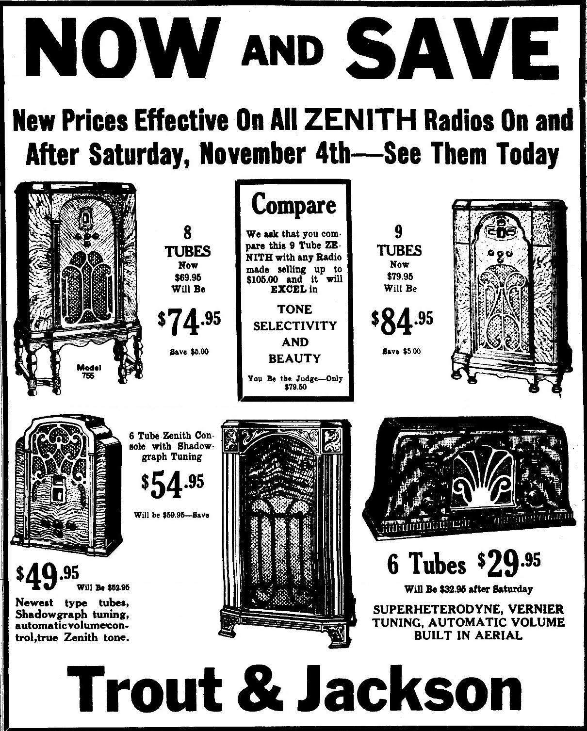 Zenith Model 715 Tombstone Tube Radio