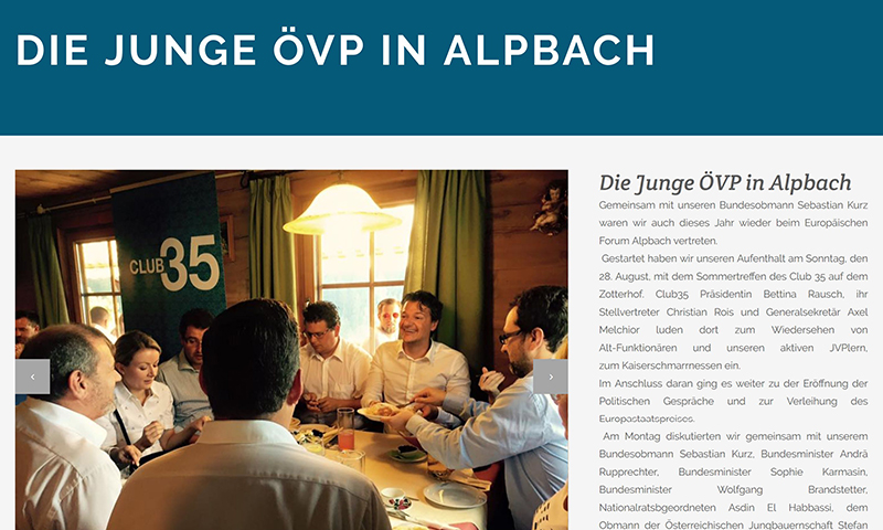 Artikel auf der Seite der Jungen ÖVP