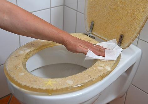 Eine Frau reinigt eine Toilette
