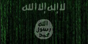 Die Flagge des Islamischen Staates auf einer Datenvisualisierung
