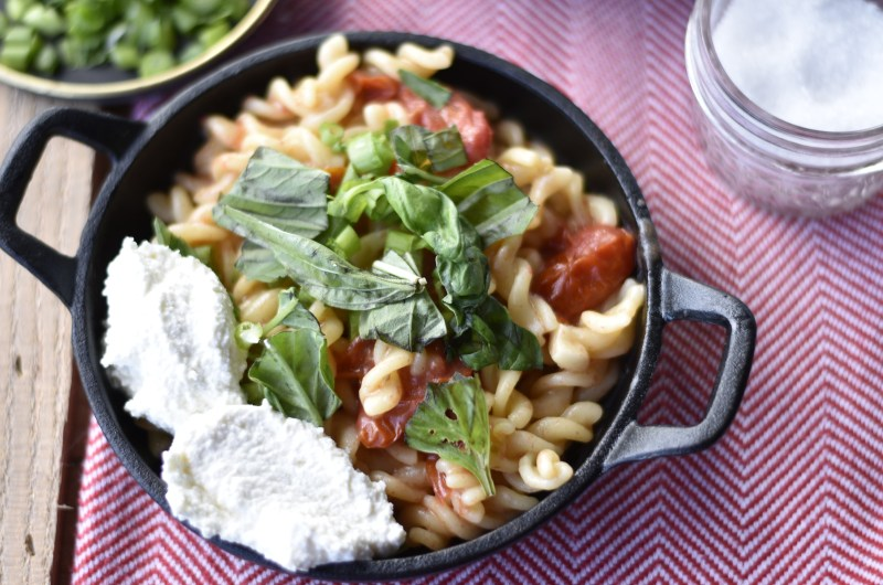 Pasta with Cherry Tomatoes, Basil and Ricotta.