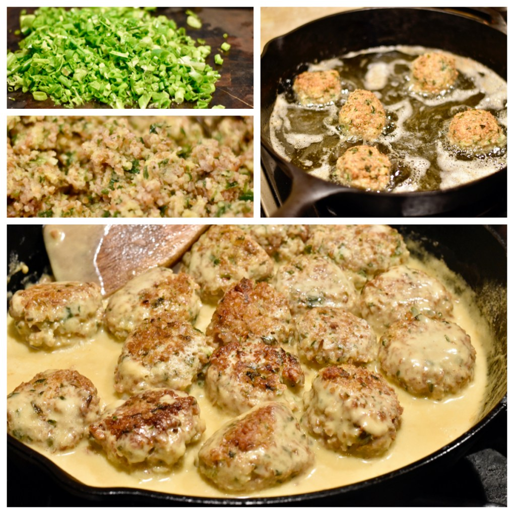 Gallery image of 4 pictures Top left, green onions chopped. Middle left, the texture of the meatball, close-up. Top right, 5 meatballs in oil, frying. Bottom, 15 vegetarian meatballs in a thick swedish style sauce with a wooden spoon