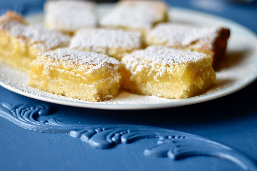 Lemon bars, close up.