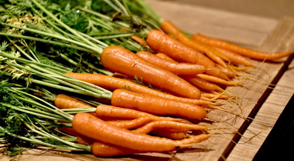 Outside grown carrots.