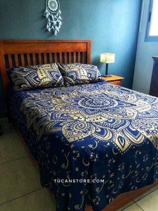 Duvet Cover Queen azul y plateado