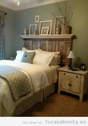 Cabeceros de cama decorados tableros puertas y ventanas de madera  Tu casa Bonita