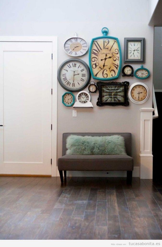 Murales hechos con fotos relojes y letras para decorar