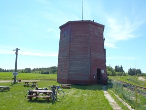 This is one of the few surviving wooden water towers used for the steam locomotives.