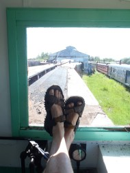 Fulfilling a childhood ambition to sit in the observation platform of a caboose.