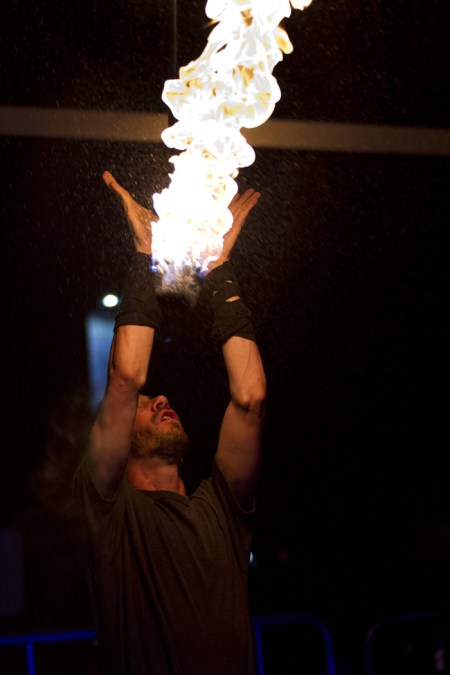 Pedro Ramano catches his bostaff after throwing it in the air during his performance at the Sky Bar, Friday, May 22, 2015, in Tucson, Arizona.