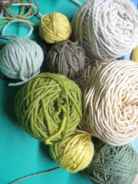 Yarn she dyed with natural dyes