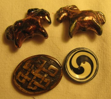 Raku pony beads, and the only two buttons I got on the whole trip, it's a miracle!