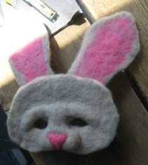 Stacy made this adorable rabbit mask, I love the big floppy ears!