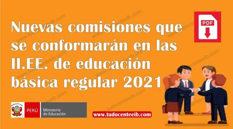 Nuevas comisiones que se conformarán en las IIEE de educación básica regular