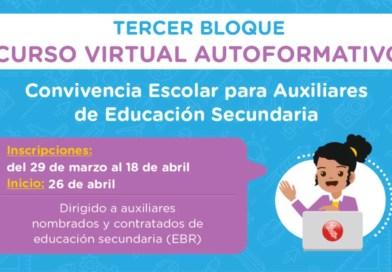Curso virtual autoformativo Convivencia Escolar para Auxiliares de Educación  secundaria