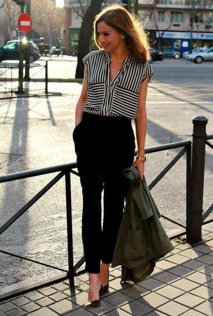 blusa de listra para look trabalho