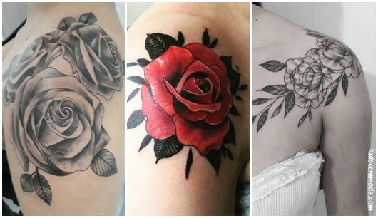 Tatuagens Femininas No Ombro Rosas Coloridas
