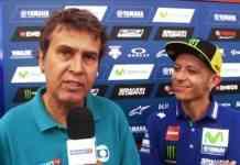 Fausto Macieira, na época ainda na SporTV, com Valentino Rossi