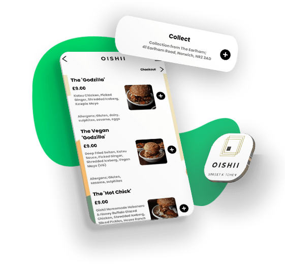 App mockup with products, collection service, oishii app icon and green shape gradient with shadow