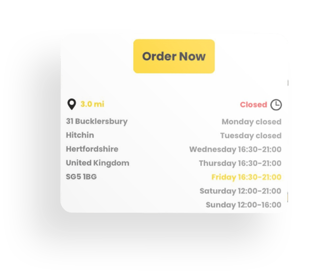 Order now app section with address, opening times, button, colours and shadow