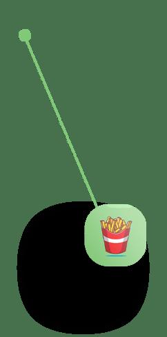 Fries Icon pointing to Analytics of App Platform