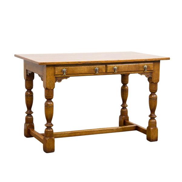 Slim Desk with 2 Drawers  Solid Oak Writing Desks  Tudor