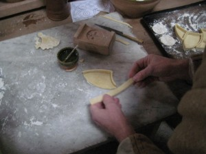 The paste sections were slab built and 'glued' together with an egg wash