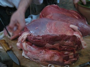 Some of the larded beef ready for roasting