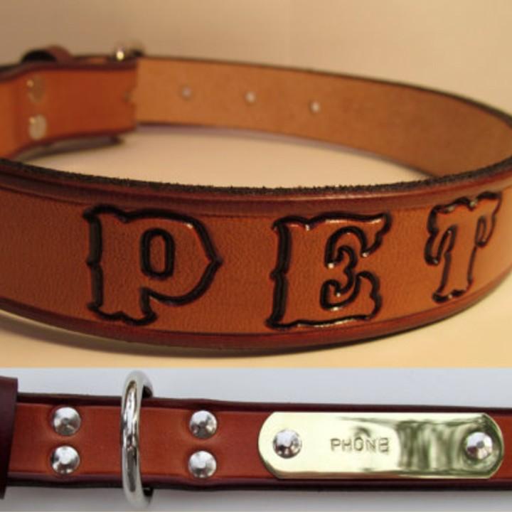 Personalized leather dog belt TueNight.com