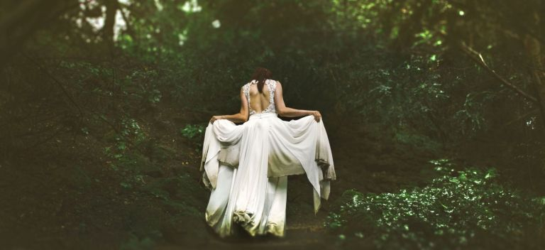 Forest bride in flowing dress