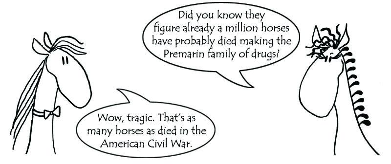 Cartoon horses Hayley and Comet back in flyer to Pfizer re