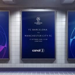 Aplicación de cambio de identidad visual en la UEFA Champions. Fotos tomadas de la UEFA.