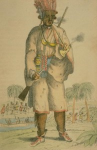 Peter Williamson, who was kidnappefd from his parents in Aberdeen, put on a slave ship bound for America, captured by Indians and then was returned to England in 1756, from THE BOOK OF WONDERFUL CHARACTERS by Henry Wilson and James Caulfield, 1869. (Photo by Time Life Pictures/Mansell/The LIFE Picture Collection/Getty Images)
