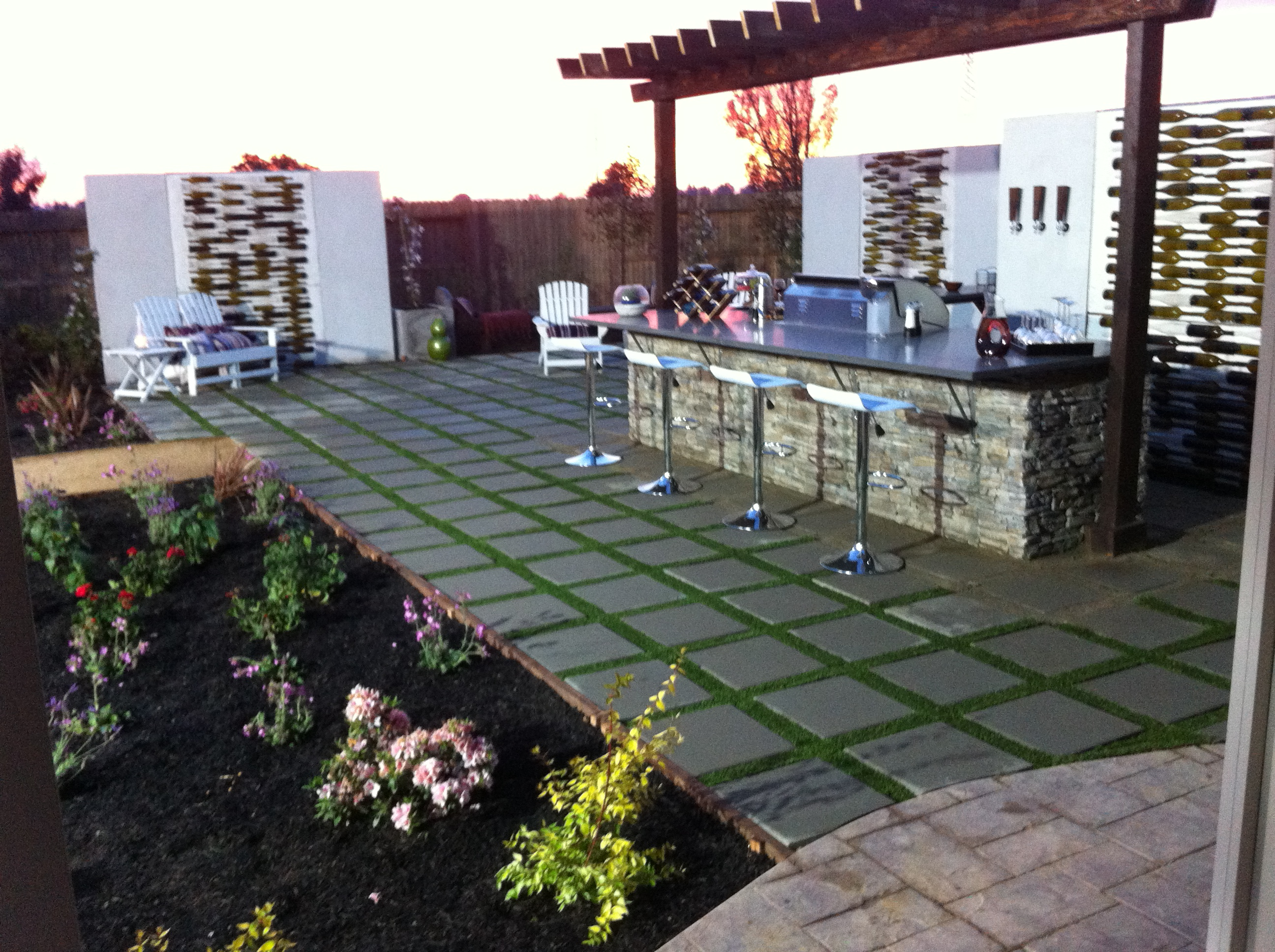 stepping stones and artificial grass
