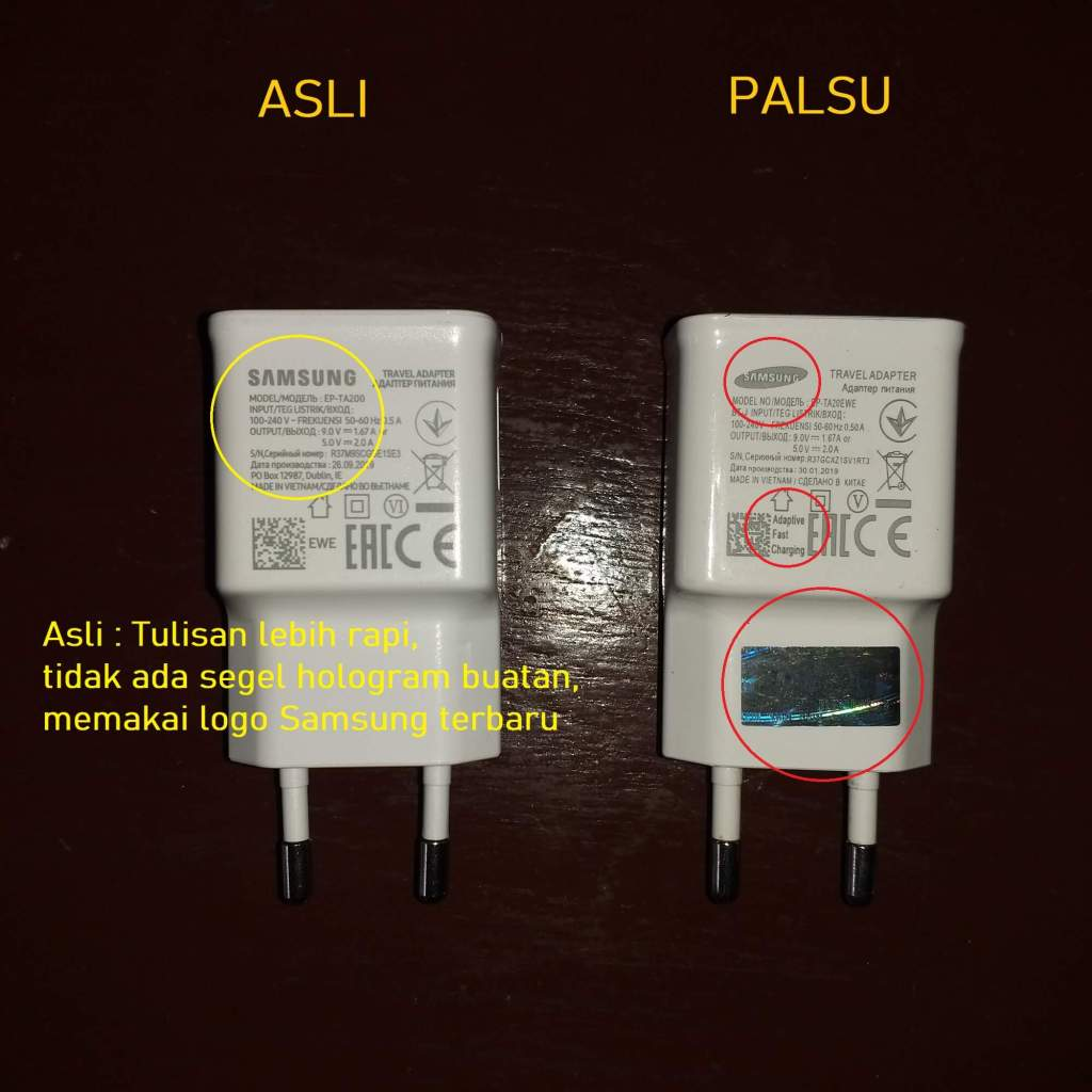 Charger Samsung Original vs Palsu