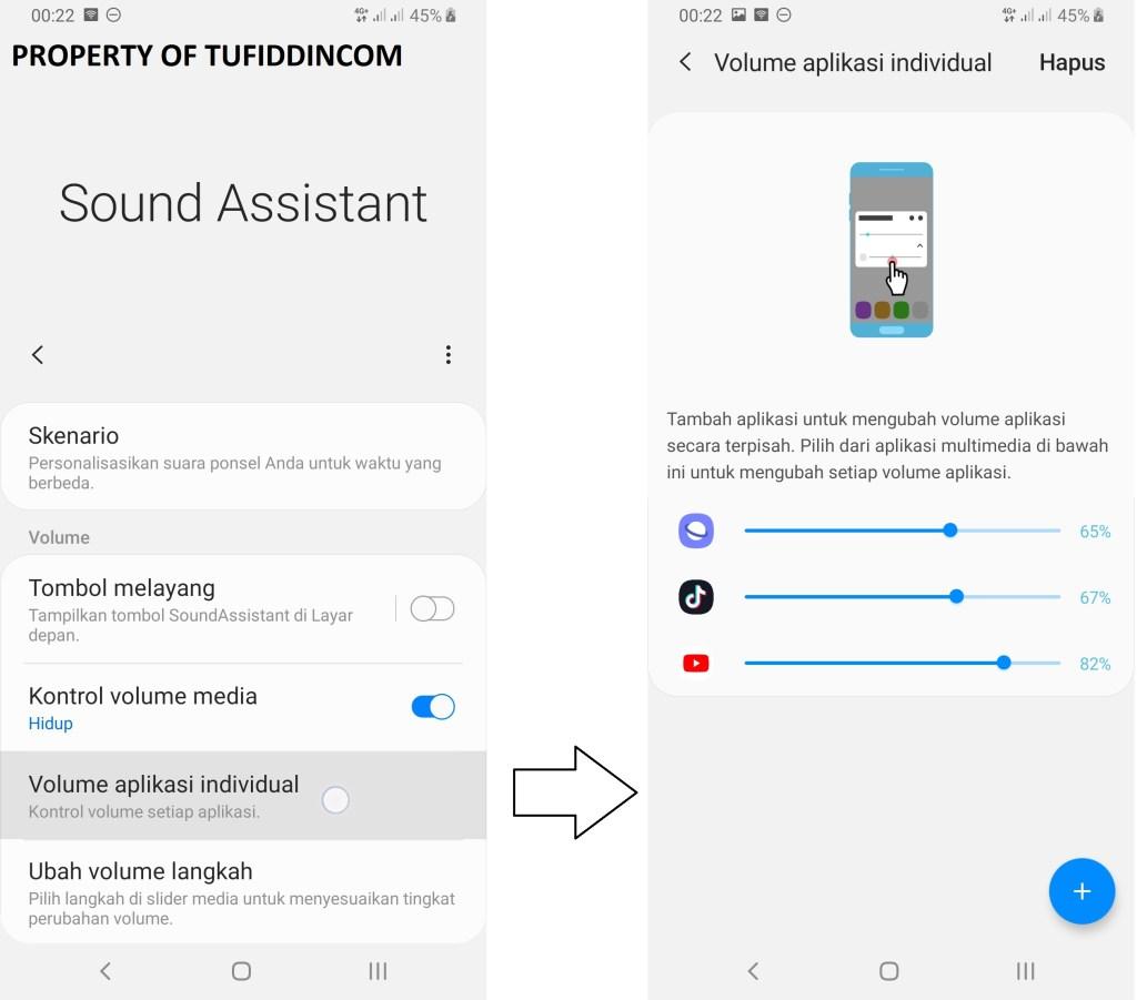 Menu Aplikasi individual untuk mengatur volume di SoundAssistant