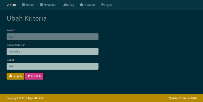 SPK Metode VIKOR PHP Tambah Ubah Kriteria