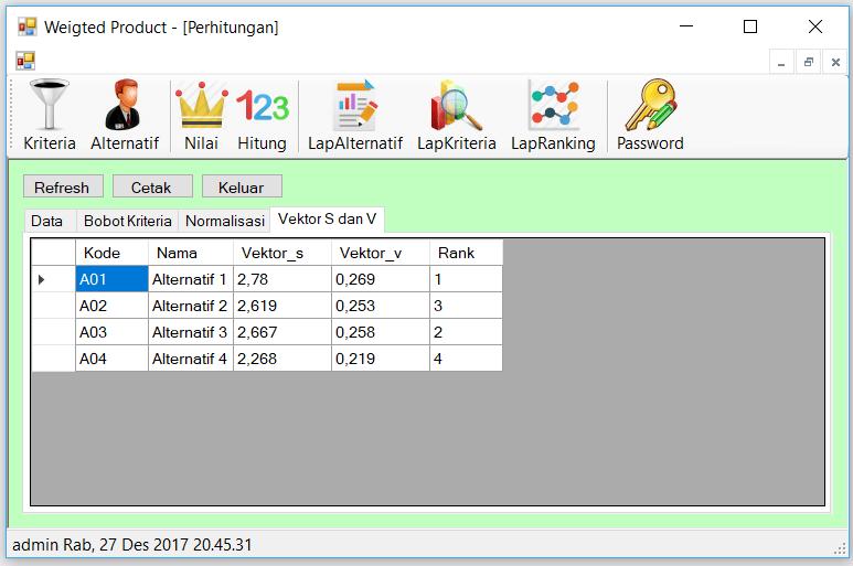SPK Weighted Product C Sharp Perhitungan