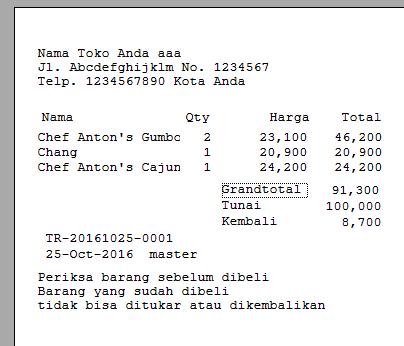 Penjualan C# Struk Transksi Penjualan Tunai