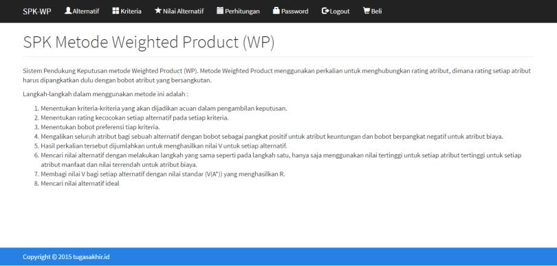 SPK Metode Weighted Product dengan PHP
