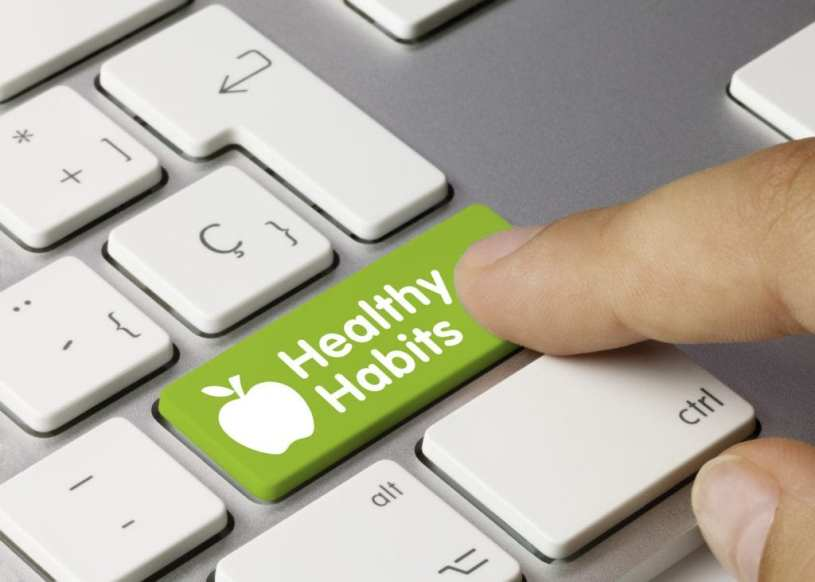 "keyboard with green key ""healthy habits"""