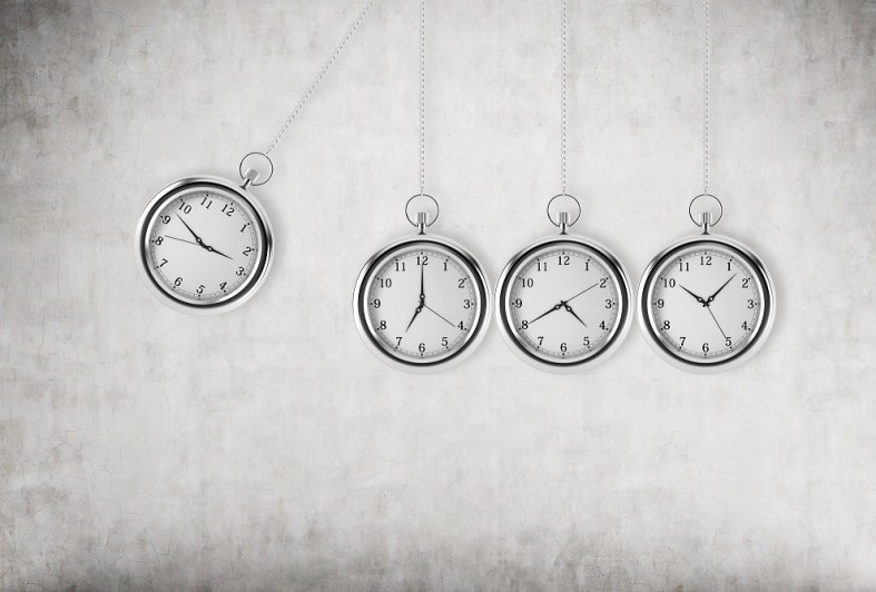 A pocket watch as a swing of the pendulum. Concrete background. 3D rendering. Time is money concept.